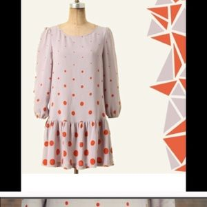 Anthropologie Polka Dot Drop Waist Dress